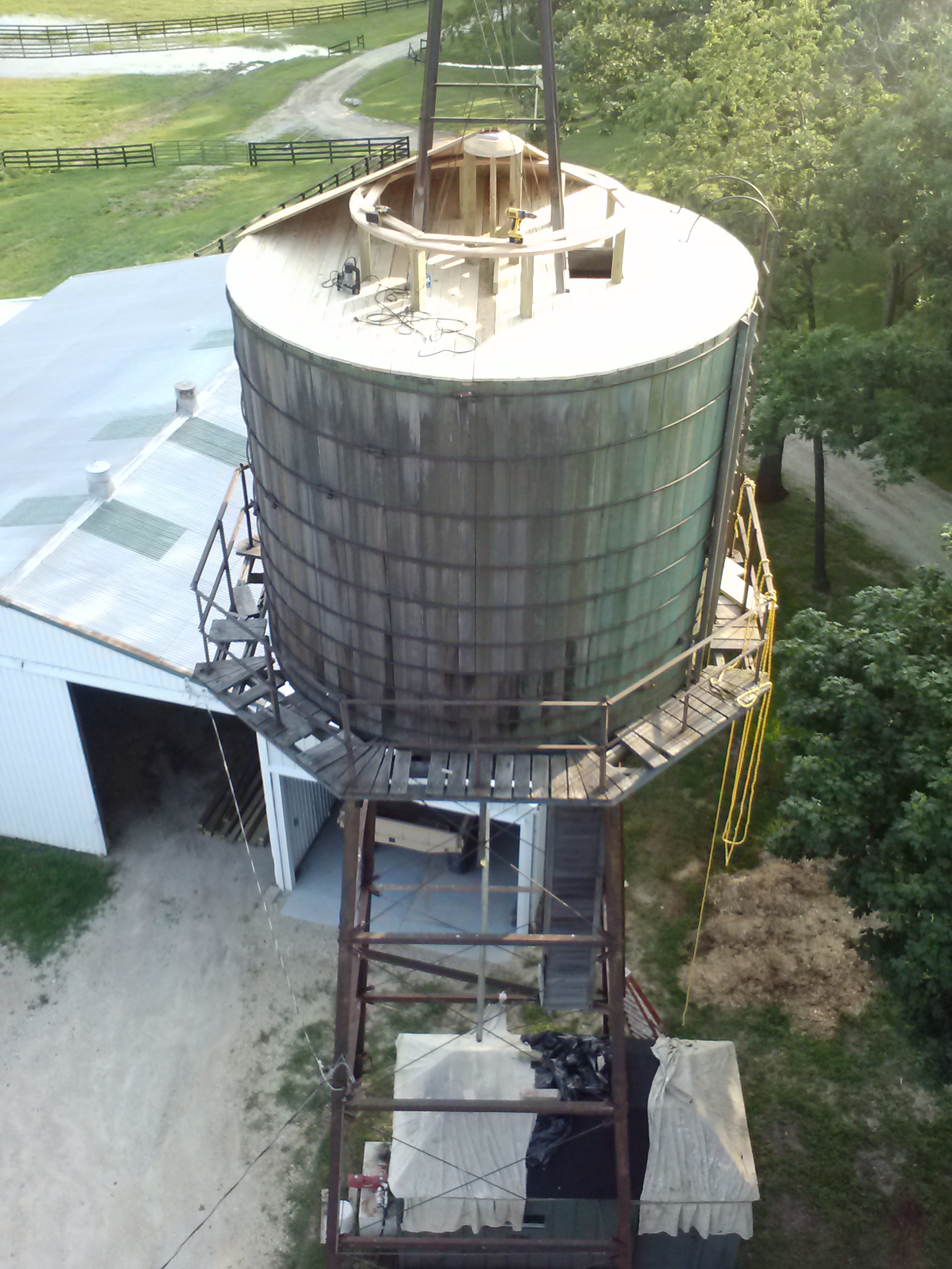 Wooden Water Tank Tower Repaired Roof Replaced