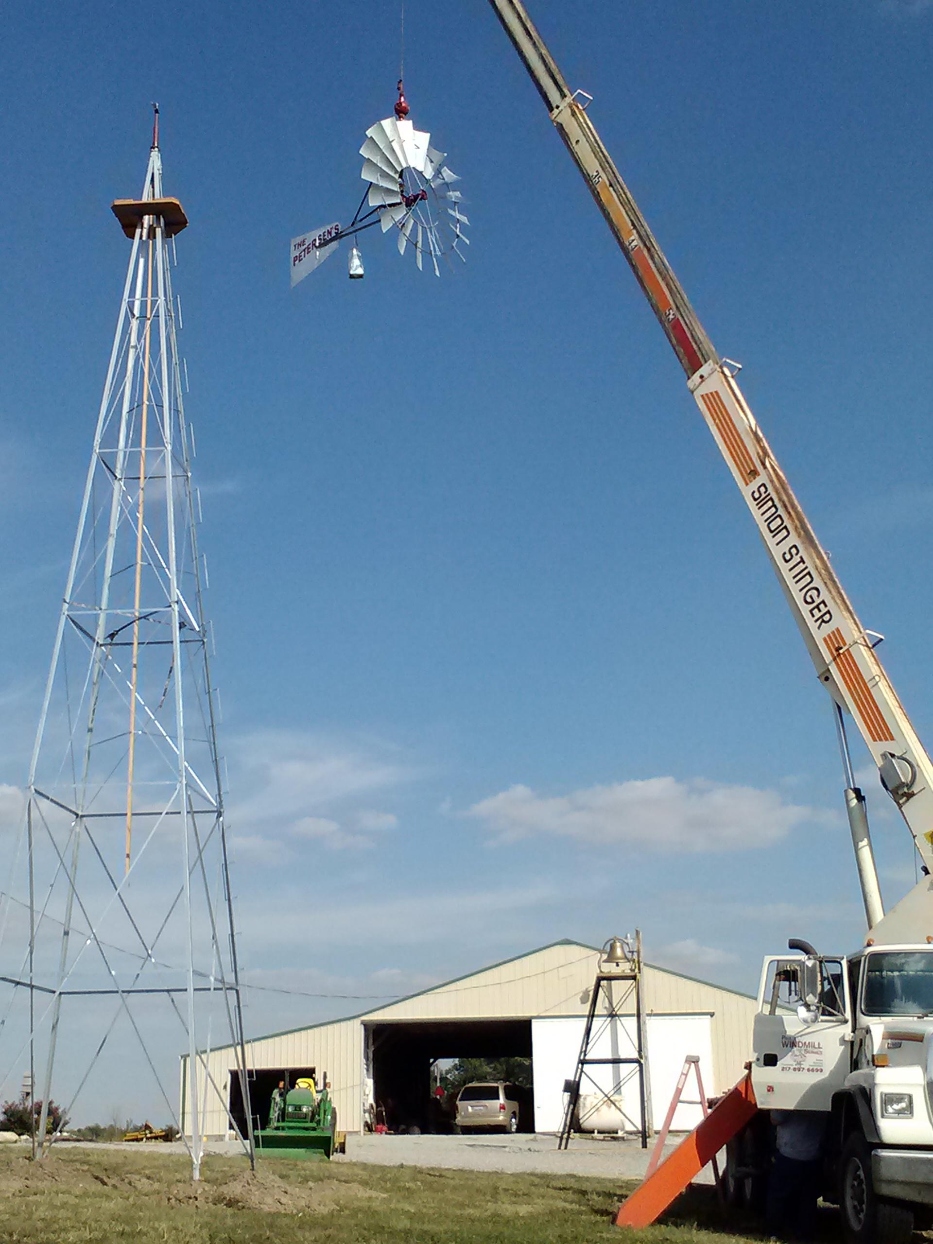 Beautiful Fall day to install a new windmill!
