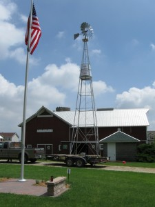 Aermotor With Tank Tower And American Flag