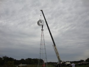 Setting Windmill on Tower